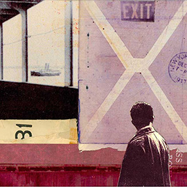 illustration of Layers Photo Montage Colourful Black and White Paint Pattern Patina Man Male Guy Dude Alone Leaving City Stamp Exit Ship Vintage