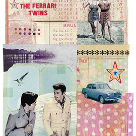 illustration of Layers Photo Montage Colourful Black and White Paint Pattern Patina March Twins Girls Ladies Women Females Walking Together Men Dating Relationship Car Auto Mobile Vintage Star Pier Olds Sea Gull Ocean