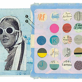 illustration of Layers Photo Montage Colourful Black and White Paint Pattern Patina Lady Woman Girl Face Sun Glasses Head Scarf Polka Dots Decorative