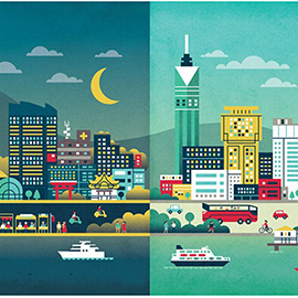 illustration of Vector Simple Effective Colourful Bold Impact Life Daytime Nighttime Skyscraper High Rise Building Modern Moon Sky Clouds Fly Plane Boats River Cafe People Pretty Cute