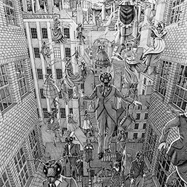 illustration of Black & White, Line, Pencil, Storyboards, Stylized, Comic Book, Fantasy, Landscape, Urban