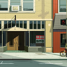 illustration of A digital illustration of closed down business buildings on Mainstreet.