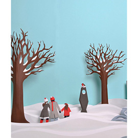 illustration of Miniature Hand Made Cut Three Dimensional Detail Winter Wonder Land Scene Snow Bird Watching Robin Trees Cold Freezing Frozen Family Walk Outdoors Explore Installation