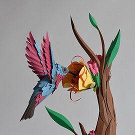 illustration of Miniature Hand Made Cut Three Dimensional Detail Bird Flying Flight Flower Exotic Petal Tree Realism Life Like Taxidermy