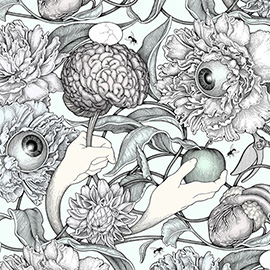 illustration of Abstract, Black & White, Pen & Ink, Watercolor, Floral, Pattern, Whimsical, Botanical, Fantasy