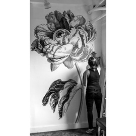 illustration of Black & White, Line, Line with Color, Pen & Ink, Floral, Whimsical, Botanical, Mural