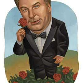 illustration of Alec Baldwin for The Washington Post, roses, tuxedo, actor