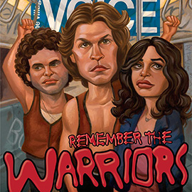 illustration of The Warriors for the Village Voice, movie, street gang, New York, 1970's, subway, graffiti, film, magazine cover