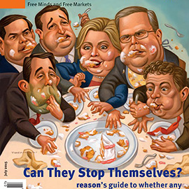 illustration of Presidential candidates for Reason Magazine cover, magazine cover, Hillary Clinton, Jeb Bush, Rand Paul, Scott Walker, Ted Cruz, Marco Rubio, gluttony, cake, fighting, republicans, democrat