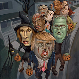 illustration of Donald Trump, Carly Fiorina, Jeb Bush, Ben Carson, Ted Cruz, Marco Rubio, Rand Paul, Chris Christie, Mike Huckabee, Republicans, Halloween, trick or treat, neighborhood, GOP presidential candidates