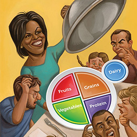illustration of Michelle Obama for Westchester Magazine, My Plate, food pyramid, dinner table, confusion