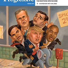 illustration of Donald Trump, Ted Cruz, Marco Rubio, Jeb Bush, and Ben Carson for The Progressive, magazine cover, elephant, kiddie ride, GOP, Republicans, presidential candidates, Iowa caucus