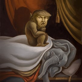 illustration of Trump as the Incubus in a takeoff on Henri Fuseli's 1781 Nightmare. GOP, Donald Trump, Elephant, demon, Incubus, gremlin, Republican, presidential candidate, election 2016.