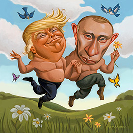 illustration of Donald Trump, Vladimir Putin, bromance, romance, couple, love, meadow, skipping, flowers, political, partners, United States, Russia