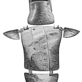 illustration of Australian bushranger Ned Kelly's suit of armour