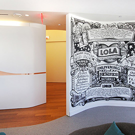 illustration of I was asked to fly out and create a bespoke hand drawn mural at Los Angeles LAX, Virgin Atlantic new Club Lounge. This is my witty take on LA and London, this is my with love London from LA, this is my LOLA...