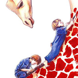 illustration of boy, kids, painting, making spots, creating giraffe, animals, fun, fantasy, make believe, imagination, creative