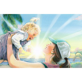 illustration of sun, sky, palm trees, beautiful day, happy, mother, child, baby, holding up, smiling, love,