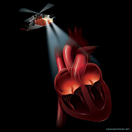 illustration of Helicopter with searchlight on a diseased heart.  Key art for