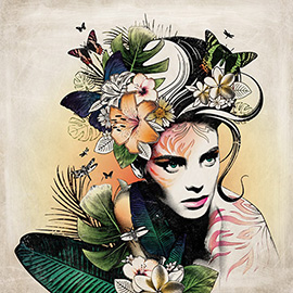 illustration of Line with Color, Mixed Media, Montage, Stylized, Texture, Nature, People, Lifestyle, Feminine, Youth
