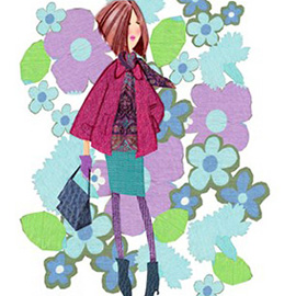 illustration of Girl Flowers Outfit Clothes