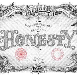 illustration of A detailed ink drawing centred around honesty