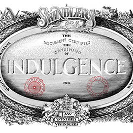 illustration of A detailed ink drawing centred around indulgence