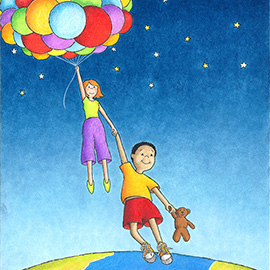 illustration of Balloons, Ascending, Child holding hand of adult, stars, earth, teddy bear,