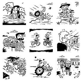 illustration of Black & White, Cartoon, Line, Pen & Ink, Humor, Family, People, Lifestyle